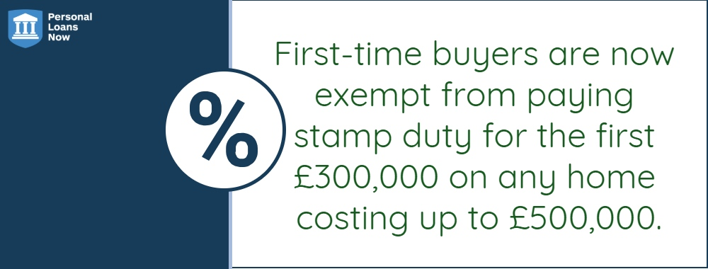First-time buyers don't pay stamp duty for the first £300,000 on any home up to £500,000 - personalloansnow