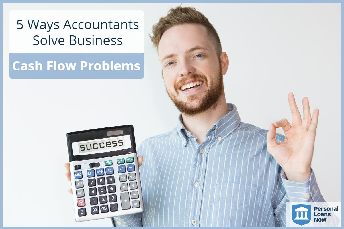 Accountant who can solve business cashflow problems holding up calculator smiling. - Personal Loans Now