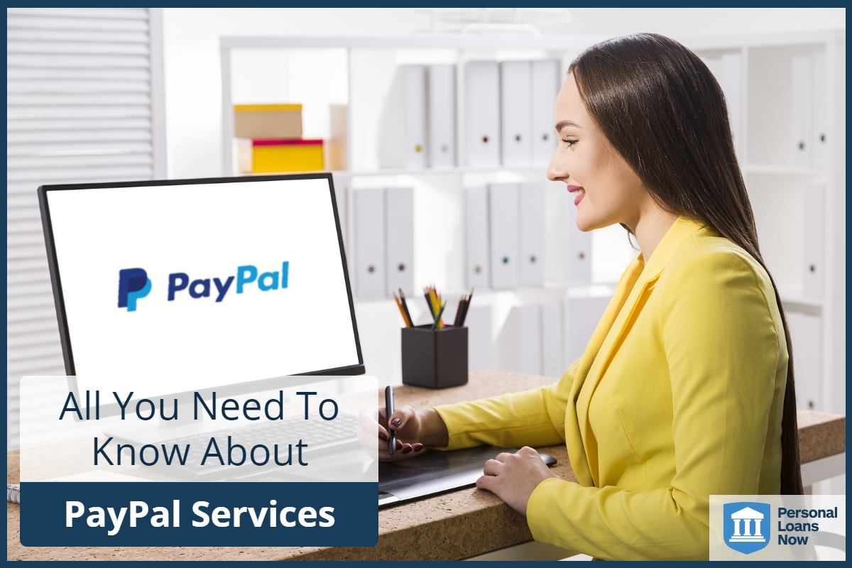 A lady on the computer using PayPal services - Personal Loans Now